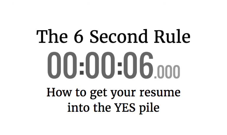 The 6 Second Rule: How to get your resume into the yes pile | RYD Blog